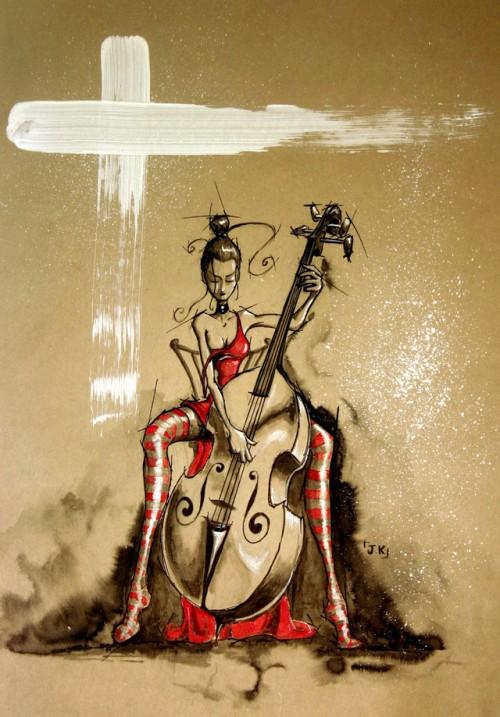 illustration musicienne contrebasse