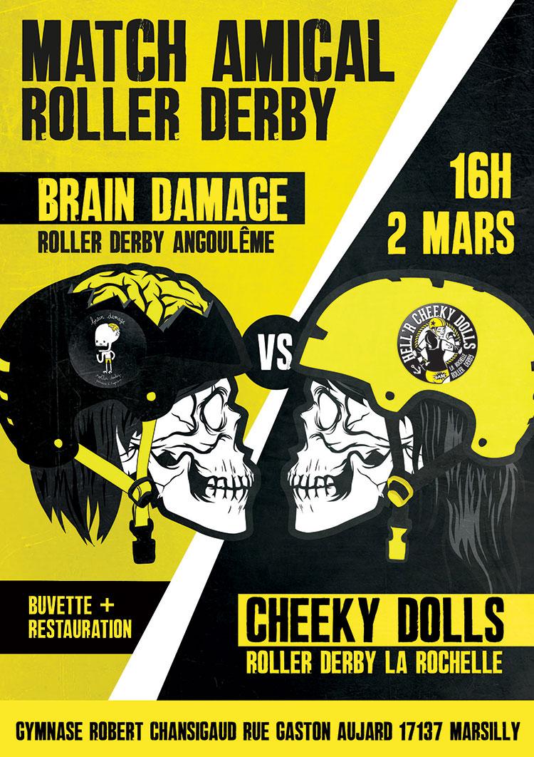 affiche atch roller derby La Rochelle 2 mars 2014